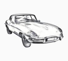 1964 Jaguar XKE Antique Sports Car Illustration Kids Clothes