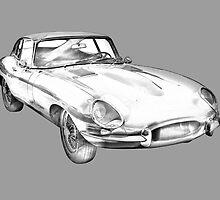 1964 Jaguar XKE Antique Sports Car Illustration by KWJphotoart
