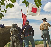 Signal Corps at Little Round Top - Gettysburg by Vanessa Goodrich
