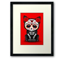 Cute Red Day of the Dead Kitten Cat Framed Print