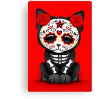 Cute Red Day of the Dead Kitten Cat Canvas Print