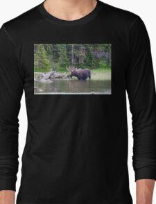 Water Feeding Moose Long Sleeve T-Shirt