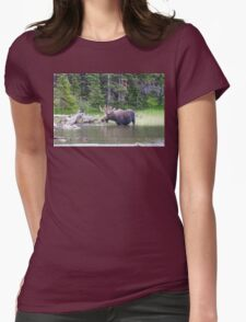Water Feeding Moose Womens Fitted T-Shirt