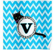 V Cat Chevron Monogram Poster
