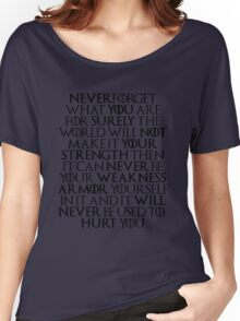 Never Forget Who You Are - Tyrion Lannister Quote Women's Relaxed Fit T-Shirt