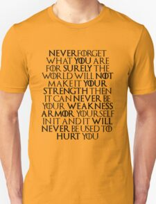 Never Forget Who You Are - Tyrion Lannister Quote Unisex T-Shirt