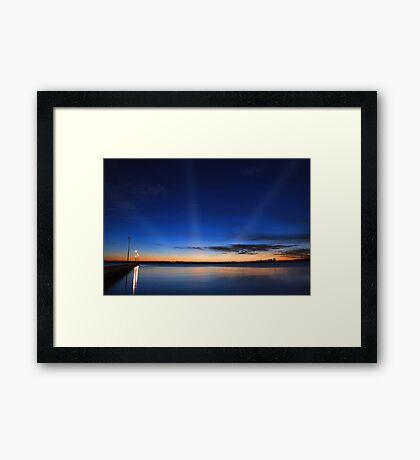 Crepuscular Rays - Como Jetty Western Australia  Framed Print