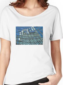 Modern blue glass wall of skyscraper in Buenos Aires, Argentina Women's Relaxed Fit T-Shirt