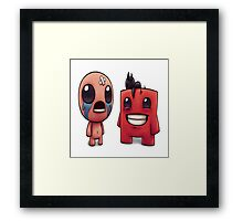 Isaac and Super Meat Boy Framed Print