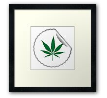 Cannabis leaf label Framed Print