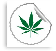 Cannabis leaf label Canvas Print