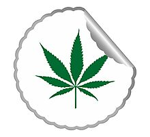 Cannabis leaf label Photographic Print