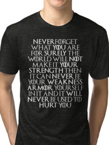 Never Forget Who You Are - Tyrion Lannister Quote Tri-blend T-Shirt