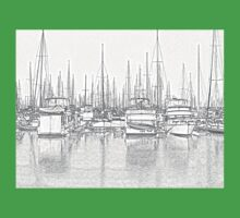 Manly Harbour, Pencil Sketch / HDR Kids Tee