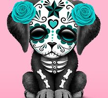 Cute Teal Blue Day of the Dead Puppy Dog Pink by Jeff Bartels