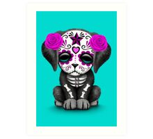 Cute Purple Day of the Dead Puppy Dog Blue Art Print