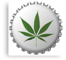 Cannabis leaf on bottle cap Canvas Print