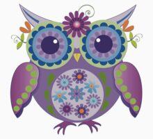Flower power owls and flowers pattern Kids Tee