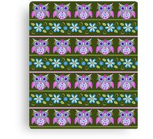 Flower power owls and flowers pattern Canvas Print