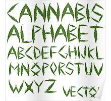 Cannabis leaf alphabet Poster