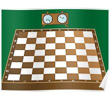 Chess board and clock Poster