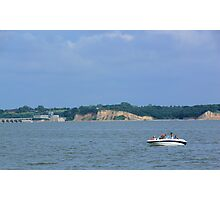 Boating on the Missouri River-Lewis and Clark Recreation Area, Yankton, SD Photographic Print
