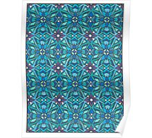 Blue Tessellation Drawing Poster