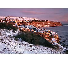 Robin Hoods Bay in Snow Photographic Print