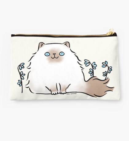 Himalayan Kitty Cat with Blue Flowers Studio Pouch