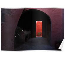 Pink Archway  leading to a Vibrant Red Wall Poster