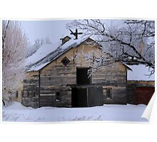 Rural Winter Barn Poster
