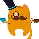 Hipstery Tea Time Cat by surlana