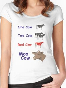 One Cow, Two Cow, Red Cow, Moo Cow Women's Fitted Scoop T-Shirt