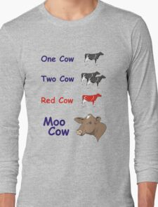 One Cow, Two Cow, Red Cow, Moo Cow Long Sleeve T-Shirt