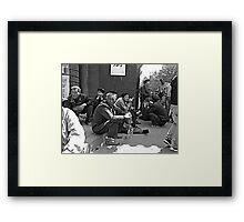 Old men waiting for the old women Framed Print