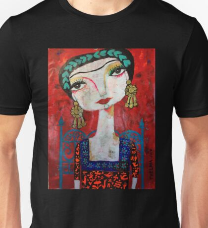 Frida and her blue chair Unisex T-Shirt