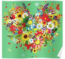 Pretty floral heart Poster