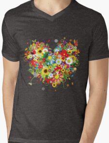 Pretty floral heart Mens V-Neck T-Shirt