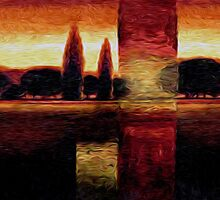 Italian Summer Sunset Trees Oil Painting by Fred Seghetti