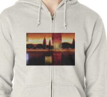 Italian Summer Sunset Trees Oil Painting Zipped Hoodie