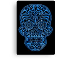 Intricate Blue and Black Sugar Skull Canvas Print