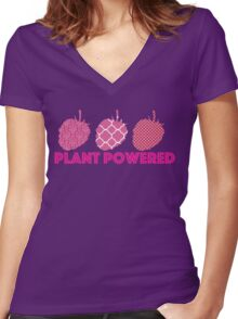 'Plant Powered' Vegan raspberry design Women's Fitted V-Neck T-Shirt