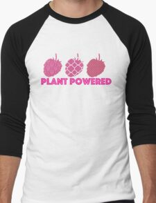 'Plant Powered' Vegan raspberry design Men's Baseball ¾ T-Shirt