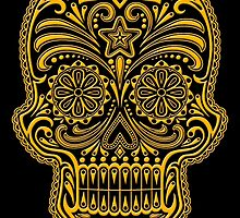 Intricate Yellow and Black Sugar Skull by Jeff Bartels