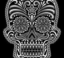Intricate White and Black Sugar Skull by Jeff Bartels
