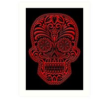 Intricate Red and Black Sugar Skull Art Print