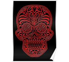 Intricate Red and Black Sugar Skull Poster