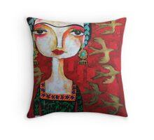 Frida with birds Throw Pillow