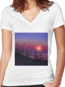 Sunrise on the Great Lakes Women's Fitted V-Neck T-Shirt