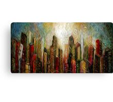 Art City Oil Painting Canvas Print